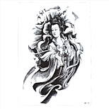 1pc Tattoo Women Men Lotus Flower Body Arm Back Art Temporary Immortal Goodness Guanyin Tattoo Sticker HB-114