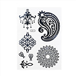 1pc Black Temporary Tattoo Flower Pandent Earring Woman Body Art Waterproof Tattoo Sticker BJ011