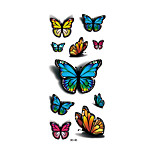 1pc Women Waterproof Temporary Tattoo Simulation Vivid Body Art Fluorescent Blue Red Butterfly 3D-30