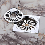 10 X 10 CM Bathroom Floor Drain, Chrome Plating / Solid Brass / Contemporary / Bathroom Accessory