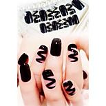 24pcs/set Sexy Black Ribbon Fake Nails Tips