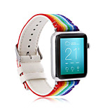 Newest Multicolour Canvas Sport Band Men And Women Rainbow Watchband pu For iWatch Watchband 38mm/42mm