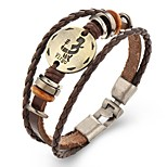 Punk Men's Bracelet PU Leather Bracelet Constellation Aquarius Pisces for Men Fashion Jewelry