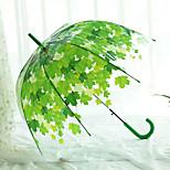 Shade Transparent Umbrella Long Handle Green Leaf Transparent Umbrella Straight Rod Pvc Umbrella