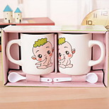 Cute Cartoon Take Teaspoons of Ceramic Cup