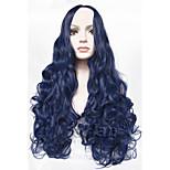 Fashion Long Curly Blue Wig 24