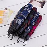 Japan And South Korea Solid Color Umbrella Three Folding Umbrella Stalked Portable Folding Umbrella Vinyl Umbrella