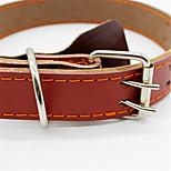 Dog Collar Adjustable/Retractable Brown PU Leather