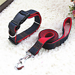 Cat / Dog Collar / Leash Adjustable/Retractable Red / Black / Blue Nylon