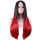 Fashion Ombre Wig Straight Long Two Tone Gradient Two Colored Wig Synthetic Wigs for Women Black to Red