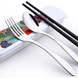 Stainless Steel Travel Cutlery Portable Chopsticks Spoon Fork Gifts For Children Three-Piece Suit Korean Porcelain