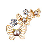 Women's Fashion Rhinestone Crystal Simulated Pearl Butterfly Brooch Jewelry Party Brooches Pretty Gift