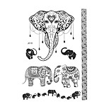 1pc Black Waterproof Tattoo Lace Sexy Woman Elephant Body Art Temporary Henna Tattoo Sticker BJ018