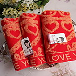Bright Red Happy Character Jacquard Soft Cotton Towels