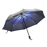 Parasol Super Sun Star Umbrella Black Plastic Umbrella Three Folding Creative Umbrella Uv