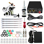 Professional Complete 2 Tattoo Machine Kit 1PCS Ink Power Supply Needle Grips Tips