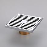 Bathroom Accessory Chrome Finish Solid Brass Floor Drain