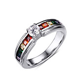 Band Rings Rotatable Diamond 316LTitanium Steel Ring Rainbow Rings Jewelry for Men and Women Alternative Gift