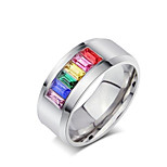 Rainbow Ring Titanium Steel Ring Personalized Diamond Ring 1pc Neutral Five Colors Fashion Jewelry Band Rings Gift