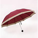 Red Folding Umbrella Sunny and Rainy Textile Travel / Lady / Men