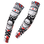 Men's Cycling Arm Warmers Unisex BikeBreathable Skeleton King Styles Pattern Sunscreen Quick-drying Arm sleeve 1 Pair