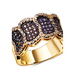 gold color rings Trendy 18K Gold and Platinum Plated Cubic Zirconia Pave Setting Lead Free rings jewellery Color stone