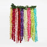 Romantic Classic Artificial Fake Wisteria Vine Ratta Silk Flowers for Garden Floral Decoration DIY  Hanging Flower (2m)