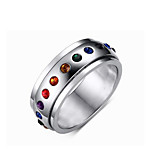Band Rings Rotatable Diamond 316LTitanium Steel Ring Rainbow Rings Jewelry for Men and Women Christmas Gift