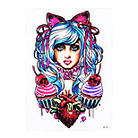 1pc Tattoo Sticker Beauty Girl Peri for Women Men Body Art Strawberry Housemaid Temporary Tattoo Sticker HB-397