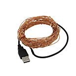 USB 5M Waterproof Flexible 3W 50-0603 SMD Green LED String Light - Silver (DC 12V)