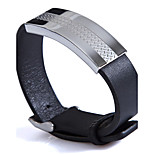 Fashion Men's The Grain Pattern 316L Stainless Steel Leather Bracelets