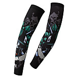 Men's Cycling Arm Warmers Unisex BikeBreathable Skeleton Soldier Styles Pattern Sunscreen Quick-drying Arm sleeve 1 Pair