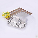 Small Stainless Steel Plate Small Snack Fourfold Fourfold Delivery Takeaway Delivery Tray Plate Can Cover With Plastic
