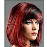 Black Mixed Red Synthetic Wigs Classical Ladies Straight Silky Heat Resistance Wigs Wholesale