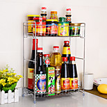 2 Tier Chrome Stainless Steel Double Spice Rack  Turret Rack Kitchen Utensils
