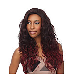 Ombre Fuxia Black mixed Red Wave Synthetic Wigs for American Women Heat Resistant Hairstyle