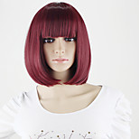Cheap Korean Synthetic Wigs With Bangs Women Short Bob Wig Store Wholesale Wine Red Short Synthetic Wig For Women