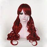 Japanese High-quality Heat Ok Synthetic Hair Dark Red Anime Cosplay Costume Long Wig