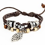Punk Men's Bracelet PU Leather Bracelet Leaf Charm Multilayer for Men Fashion Jewelry