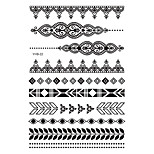 6pcs Black Flower Lace Women Henna Bracelet Chain Temporary Waterproof Tattoo Sticker Paste Paper