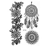 1pc Waterproof Body Art Tattoo Black Dreamcatcher Flower Pattern Temporary Tattoo Sticker BJ013A