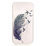 Feathers Pattern TPU Relief Back Cover Case for Moto G4 Play