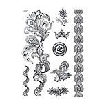 1pc Black Henna Temporary Tattoo Flower Totem Woman Body Art Tattoo Sticker Wedding BJ021