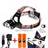 헤드 램프 스트랩 LED 4.0 모드 9000LM 루멘 컴팩트 사이즈 / 높은 전력 Cree XM-L T6 18650 캠핑/등산/동굴탐험 / 사냥 / 낚시 / 여행 / 멀티기능 / 등산 / 야외-기타,블랙 알루미늄 합금