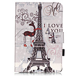 PU Leather Material Tower in Paris Embossed  Pattern Tablet Sleeve for iPad mini 4