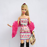 Casual Dresses For Barbie Doll Pink / Flaxen Print Dresses / Stockings / Bag / Shawl