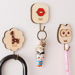 Creative Cute Wooden Cartoon Seamless Sticky Hooks Strong Wall Glue Stereo Hook (Random Shape)