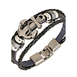 Punk Men's Bracelet PU Leather Bracelet Easy Hook Anchor for Men Fashion Jewelry
