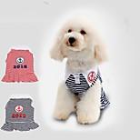 Gatti Cani Vestiti Abbigliamento per cani Estate Primavera/Autunno Righe Casual Rosso Blu