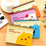 Korea Stationery Cartoon Animal Coils Schedule Notepad